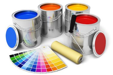 colourful cans fo paint with colour swatch