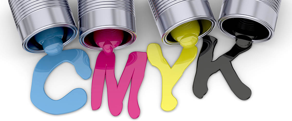Cans of ink and lacquer spilt, with ink spelling CMYK