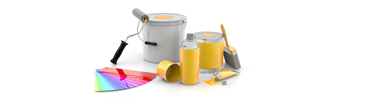 Yellow aerosol and paint tins